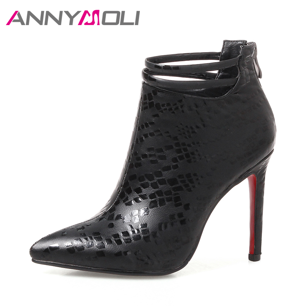 ANNYMOLI Women Spring Boots Sexy High Heels Boots Buckle Thin Heel Short Boots Zip Spring Party Shoes 2018 Red Chaussure Femme