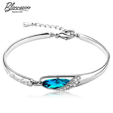 Silver glass slipper bangle bracelet fashion female models cute vintage jewelry super flash wild blue crystal jewelry