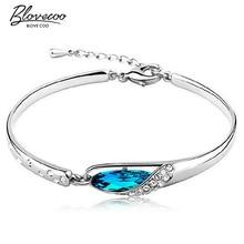 Silver glass slipper bangle bracelet fashion female models cute vintage jewelry super flash wild blue crystal