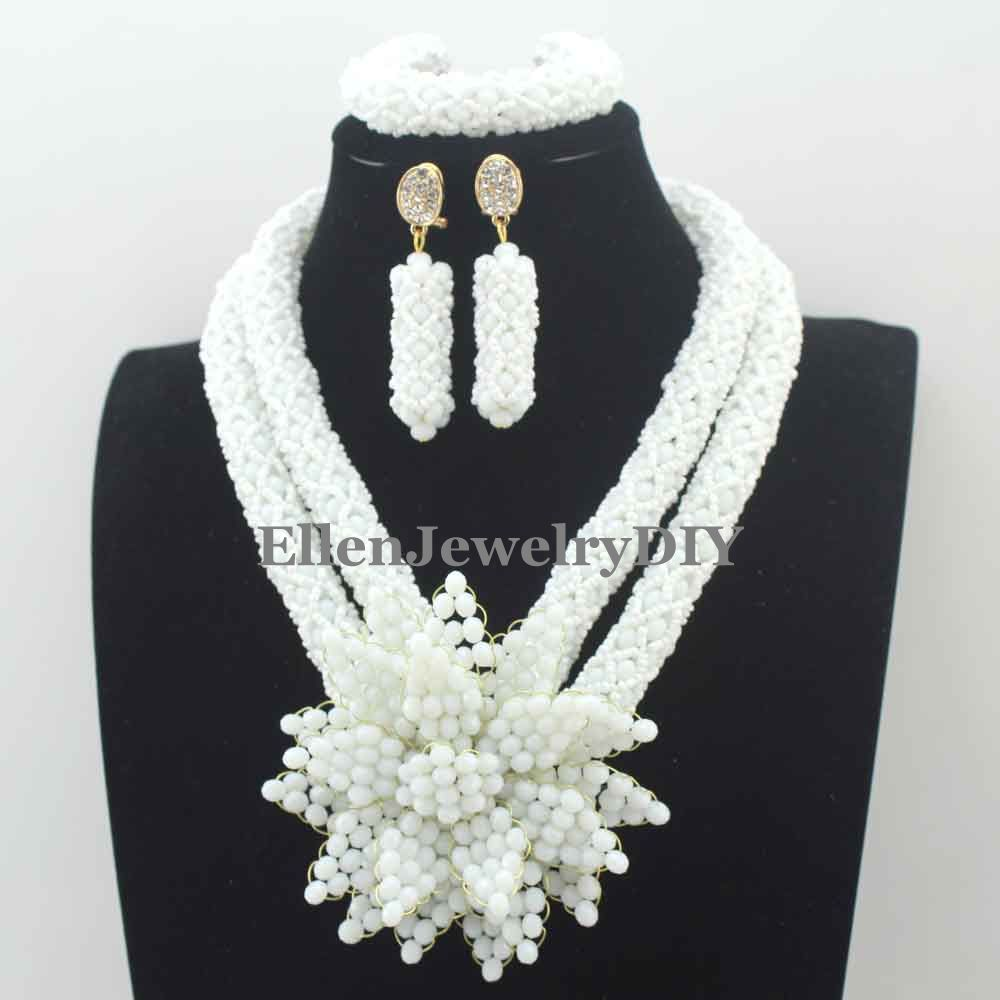 Fantastic White Crystal african beads jewelry Set Handmade Flower Pendant Wedding Nigerian wedding bridal Jewelry Set W13284Fantastic White Crystal african beads jewelry Set Handmade Flower Pendant Wedding Nigerian wedding bridal Jewelry Set W13284