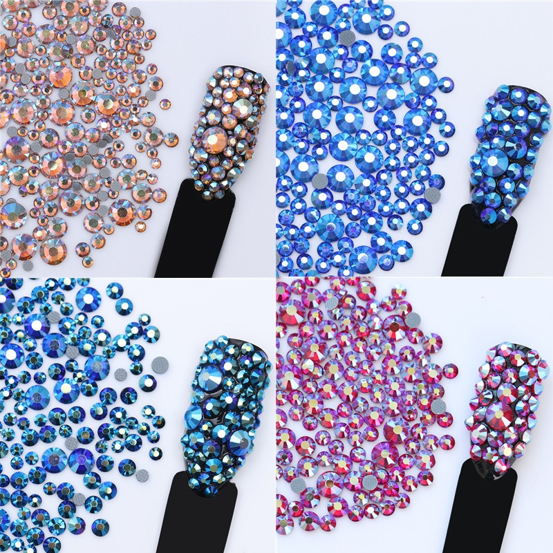 1 Beg 5.5g Nail Art berlian buatan Crystal Champagne Warna Multi-saiz Flat Bottom Manicure 3D Nail Art Decorations