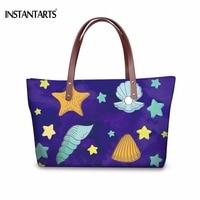 INSTANTARTS Shell Star Print Women Large Travel Tote Bag Purple Ladies Shoulder Bag For Shopping Brand