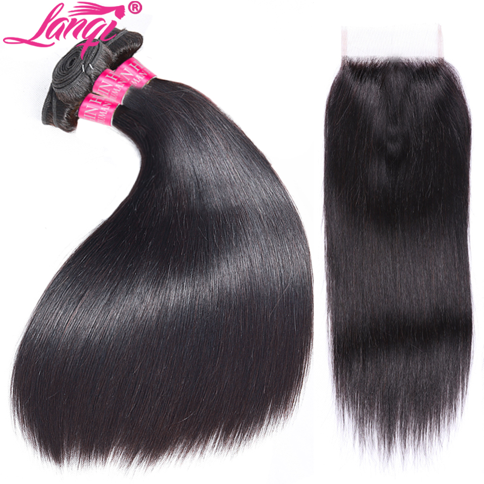 Indian Straight Hair Weave Bundles with Closure Lanqi Human Hair 3 Bundles With Closure non remy