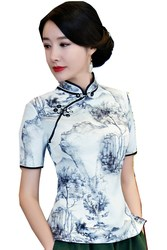 05a27cf2120 Shanghai Story traditional chinese top Short Sleeve Floral cheongsam top  Qipao Shirt Chinese Blouse For woman