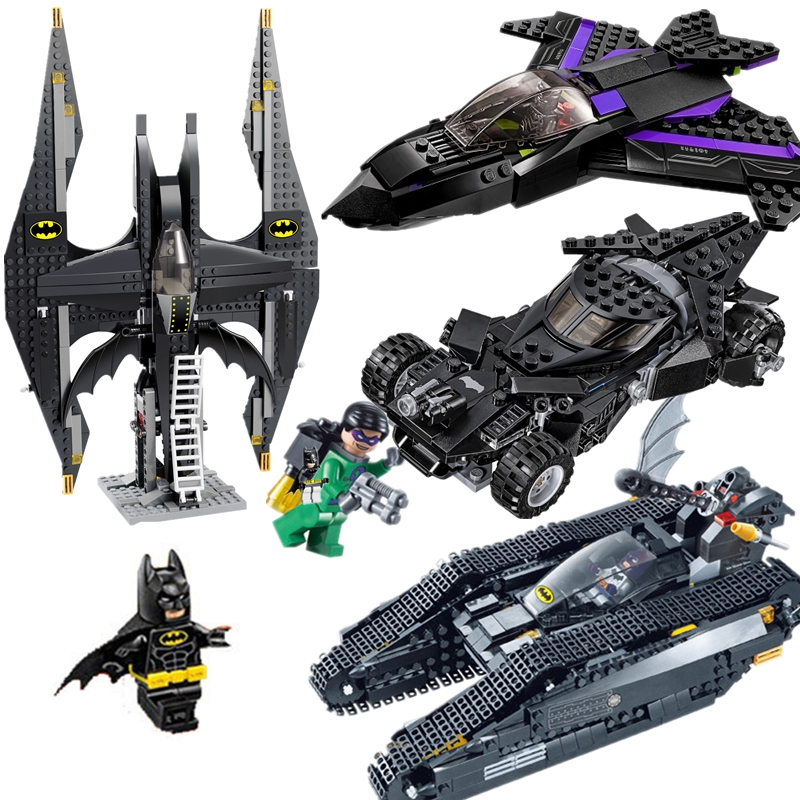 Batman Chariot Super Heroes movie Figures Black Panther Pursuit Superman Building Blocks Marvel Model Toys Compatible Legoings building blocks brinquedos model set figures toys batman super heroes movie joker s car compatible with lego