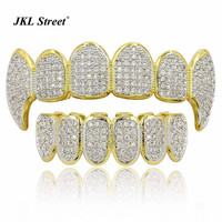 Golden Color Plated CZ Micro Pave Exclusive Luxury Fang Top Bottom Grillz Set Mouth Teeth High