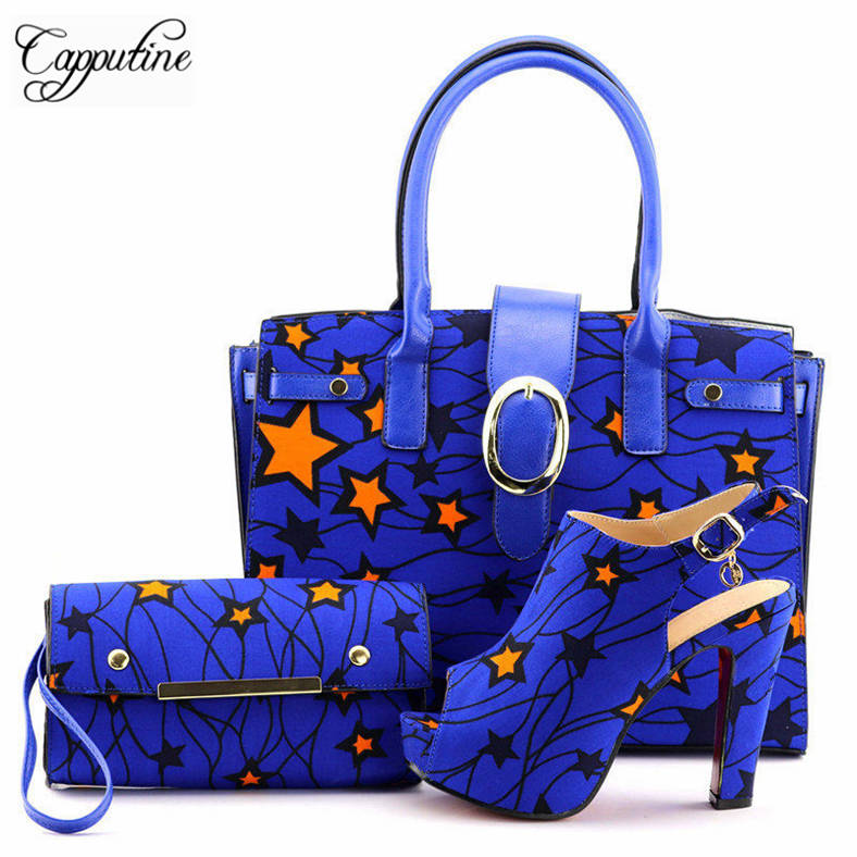 Capputine 2018 Italian Wax Fabric Made Shoes And HandBag Set African Style Women Pumps Shoes And Bag To Match For Wedding Dress