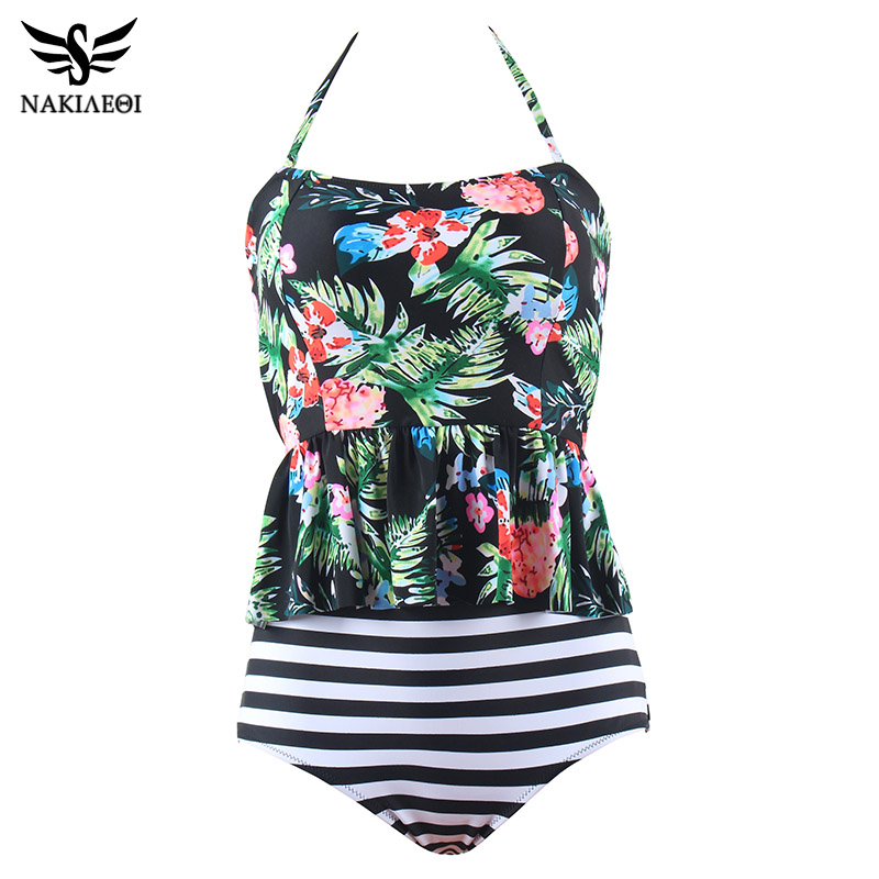 NAKIAEOI 2018 New Sexy Swimsuit Women Print Tankini Sets Swim Vintage Beach Wear Bathing Suits Female Bandage Monokini Swim Suit
