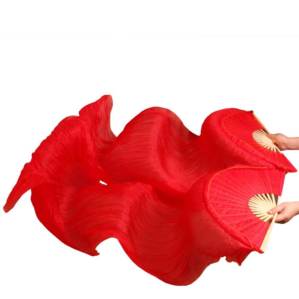 Hits 2016 High selling handmade women Quality Silk Belly Dance Fan Dance 100% Real Silk Veils 1 Pair red light red180*90 cm