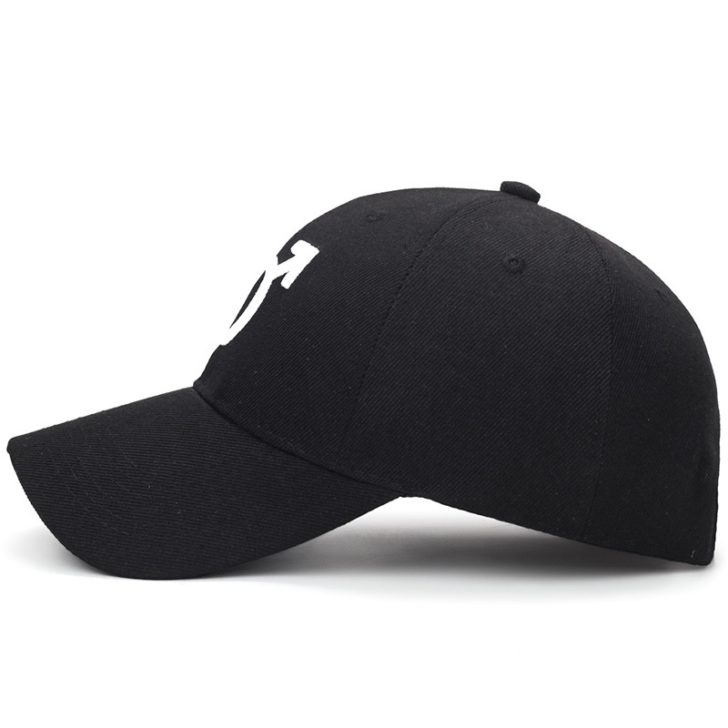 Side View of Embroidered Male Symbol Baseball Cap - Black