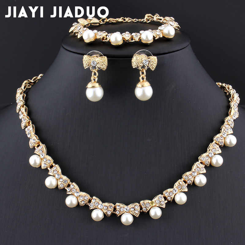Jiayijiaduo Imitation Pearl Gold-color Jewelry Sets for Women's Bridal Wedding Accessories Necklace Earrings Bracelet Gift Party