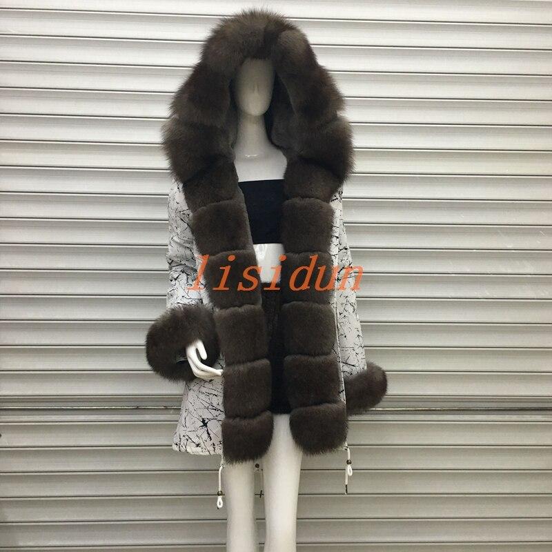 2018 лисий мех пальто, пальто, платье, женская одежда, длинные волосы лайнер, Паркер, и выдра Кролик Мех животных новый