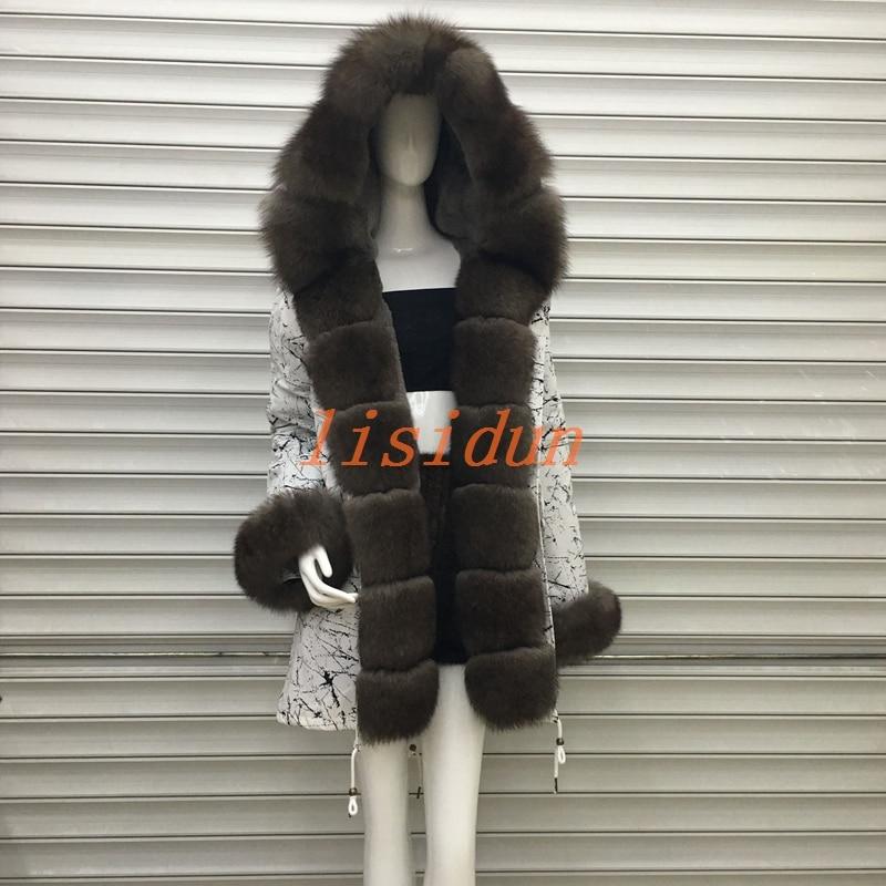 2018 cappotto di pelliccia di volpe, il cappotto, il vestito, vestiti delle donne, capelli lunghi di linea, Parker, e lontra pelliccia di coniglio nuovo di pelliccia