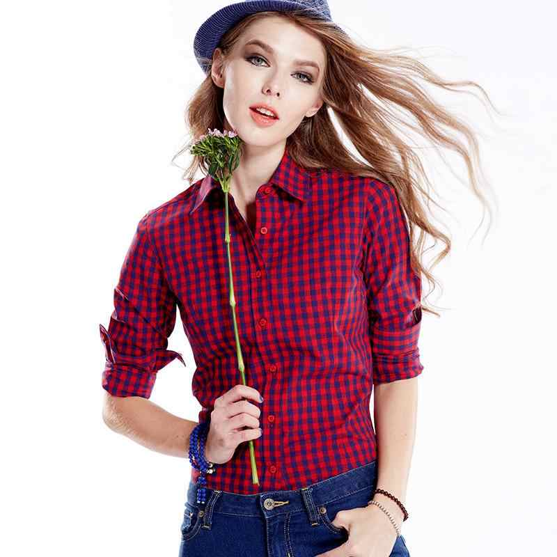 592f6fe8e4e ... Ladies Checked Shirts Women s Slim Fit Black White Plaid Shirt Female  Long Sleeve Red Blue Checked