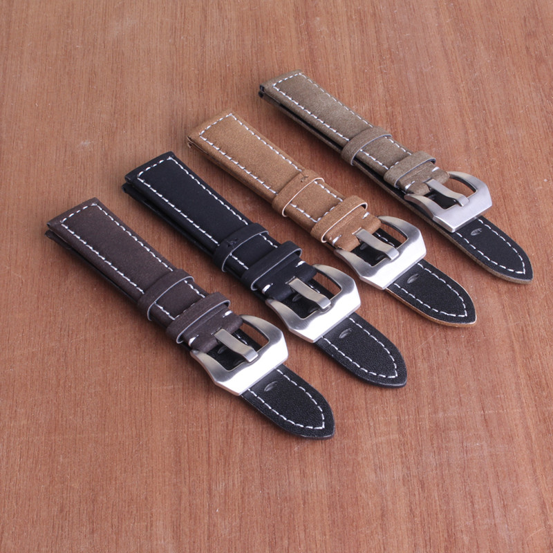 High Quality 18mm 20mm 22mm 24mm Waterproof Genuine Leather Watch Strap Band Black Brown Beige colors