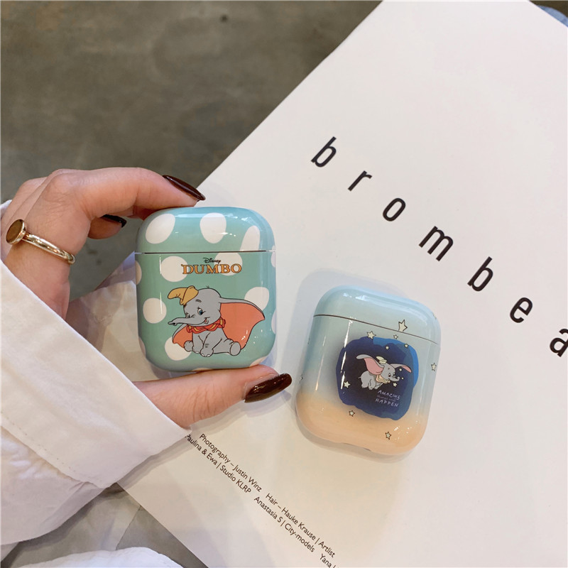 Lovely Dumbo Baby Elephant Shockproof Plastic Hard Shell For Apple Wireless Bluetooth Headset Airpods 1 2 Protection Cover Case