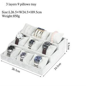 Image 5 - Luxury Velvet 3 Tier Bracelet Jewelry Display Tray With Pillows Bangles Storage Tray 9 Grid Jewelry Organizer Watch Stand Holder