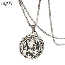 OQEPJ Religious Christian Virgin Mary Saint Benedict Medal Necklace&Pendant Stainless Steel High Polished Necklaces Men Jewelry
