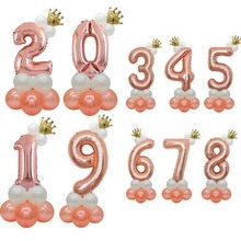 8-SEASON 6st Rose Gold Number Foil Crown Birthday Balloons 1 2 3 4 5 6 7 8 9 Years Baby Shower Party Decorations