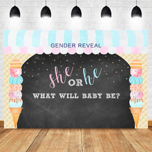 NeoBack Gender Reveal Backdrop Ice Cream Shop Baby Shower Photo Background Boy or Girl Surprise Party Banner Backdrops