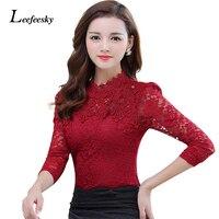 2016 Autumn Winter Women Tops Fashion Lace Blouse Long Sleeve Slim Body Crochet Floral Lace Shirt