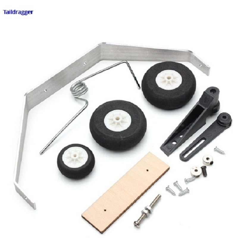Aluminum Alloy Taildragger Tricycle Landing Gear w/Steering Tail Wheel For RC Airplane Spare Parts