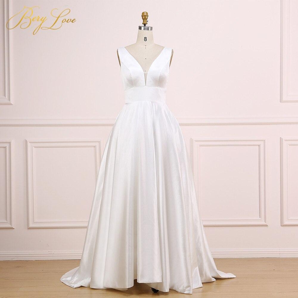 Sexy V Ivory Wedding Dress 2019 V Neck Plain Elegant Satin Wedding Gown Long Formal Bridal