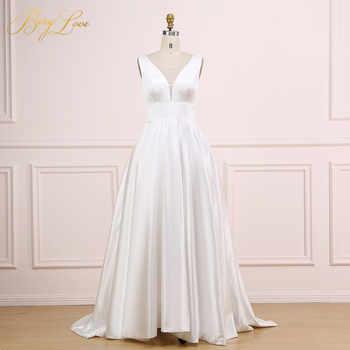 Sexy V Ivory Wedding Dress 2019 V Neck Plain Elegant Satin Wedding Gown Long Formal Bridal Dress Bride Empire vestido marriage - DISCOUNT ITEM  36% OFF Weddings & Events