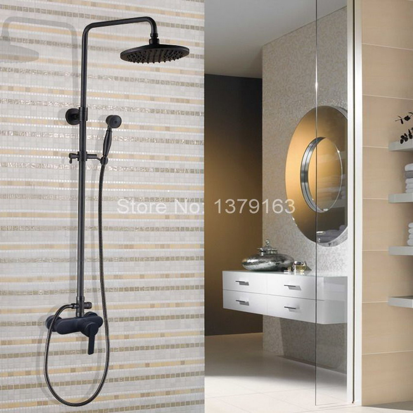 Black Oil Rubbed Single Lever Brass Wall Mount Rain Shower System Mixer tap Faucet Set Telephone Style Handheld Shower ahg154