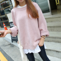 Autumn and winter recreation campus wind small fresh sweet basic models Solid Color crimping sleeve round neck sweater for women