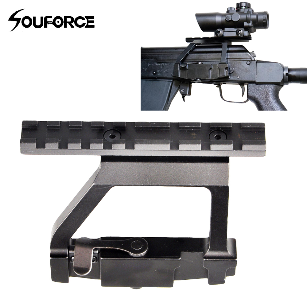 Metal Top Rail <font><b>Mount</b></font> <font><b>AK47</b></font>/ AK74 SAIGA RIFLE Airsoft Side Rail Lock <font><b>Scope</b></font> <font><b>Mount</b></font> QD for 20mm Picatinny Rail <font><b>Scope</b></font> Sight image