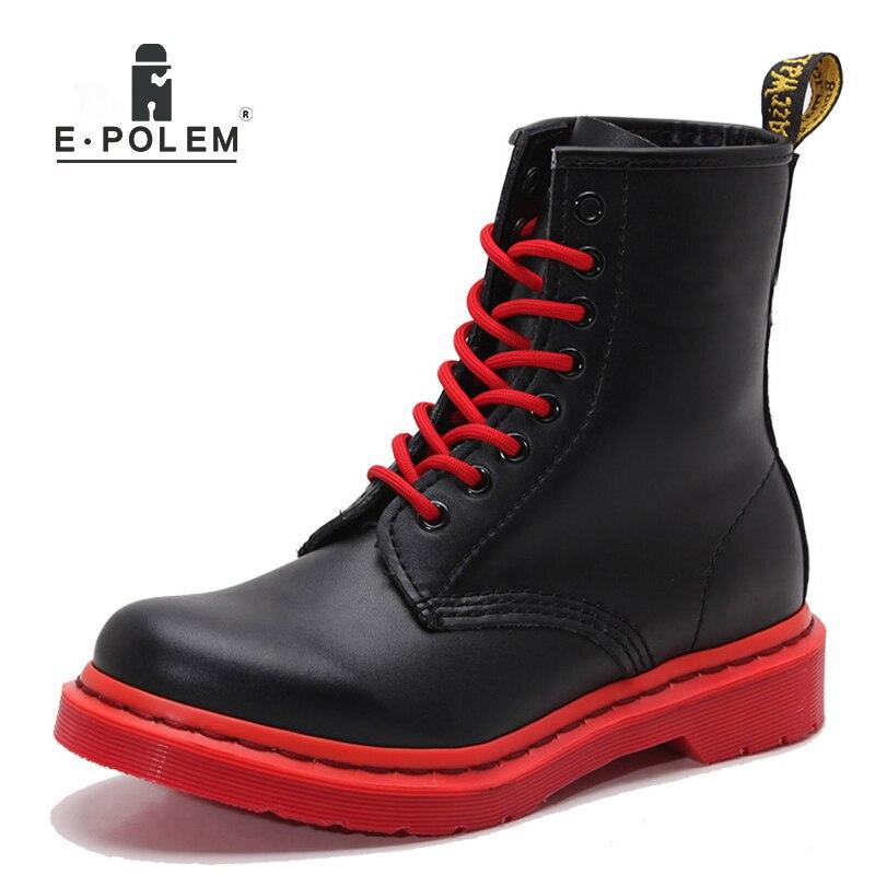black Black 2 1 Cuir Unisexe Bout Rond Velours Haute Et white Véritable Martin Automne red Plat En De Talon Femmes Bottes Étudiant D'hiver Plus Épais 4xB1Hw