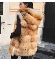 Red Fox Fur Vest Striped Gilet Coat Outwear Jacket Garment Overcoat Sleeveless Top Nature Golden Jackets Hooded Vest Hoodie Plus