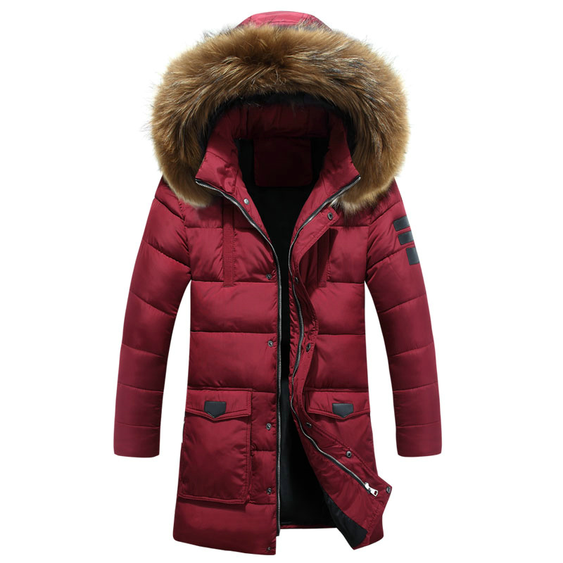 New <font><b>Winter</b></font> <font><b>Fashion</b></font> <font><b>Men</b></font> Thick Warm Padded Coat Big <font><b>Faux</b></font> <font><b>Fur</b></font> <font><b>Collar</b></font> <font><b>Hooded</b></font> Mid-Length Jacket Quilted <font><b>Parkas</b></font> Outerwears