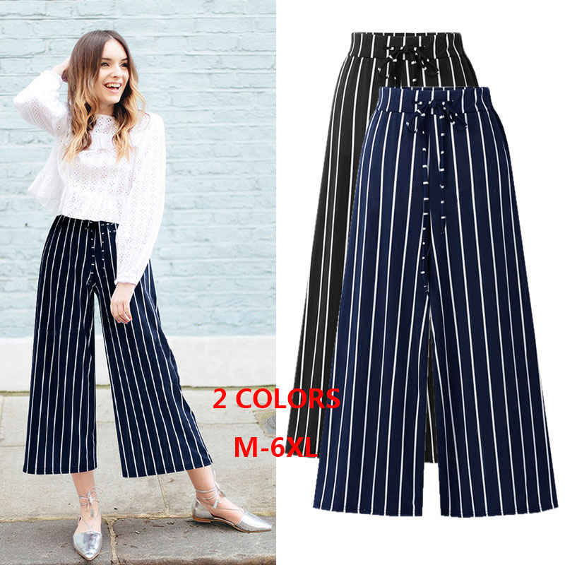 Black 4xl Drawstring 6xl 5xl 3xl High Size Length 69473 Wide Ankle Black 2018 Leg blue Plus Casual Striped Waist Loose M Pants wIFxUWnvqY