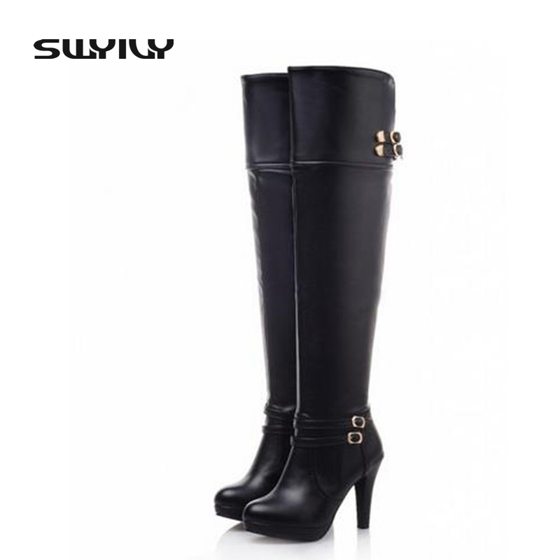 Sexy High-Heeled White Boots Zipper Spring Korean Fashion Tall Knee Boots Knight Women Shoes Large Size 40-43 Buckle Design цены онлайн