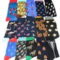 Модные мужские носки большого размера в стиле хип-хоп Харадзюку Веселые носки с животными собаками Фламинго растениями кактусами забавная ...