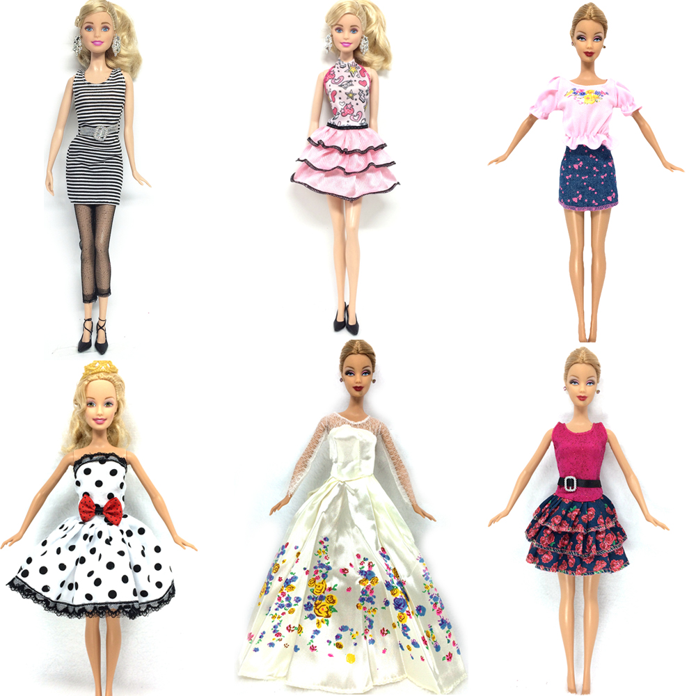 NK 6 Set/Lot Hot Sell Doll Outfits Top Fashion Dress Party Gown Clothes For Barbie Doll Baby Toys Best Girls' Gifts Child Toys new 20 pcs set handmade party 12 clothes fashion mixed style dress 8 pair accessories shoes for barbie doll best gift girl toy