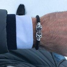 2020 Real Stingray bracelet Luxury Men Silver Color CZ Skull Bracelet Stainless Steel Genuine black Stingray leather bracelet