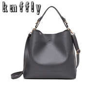 KMFFLY 2017 Big Bucket Women Shoulder Bags High Quality Black Super Fiber Pu Leather Handbag Casual