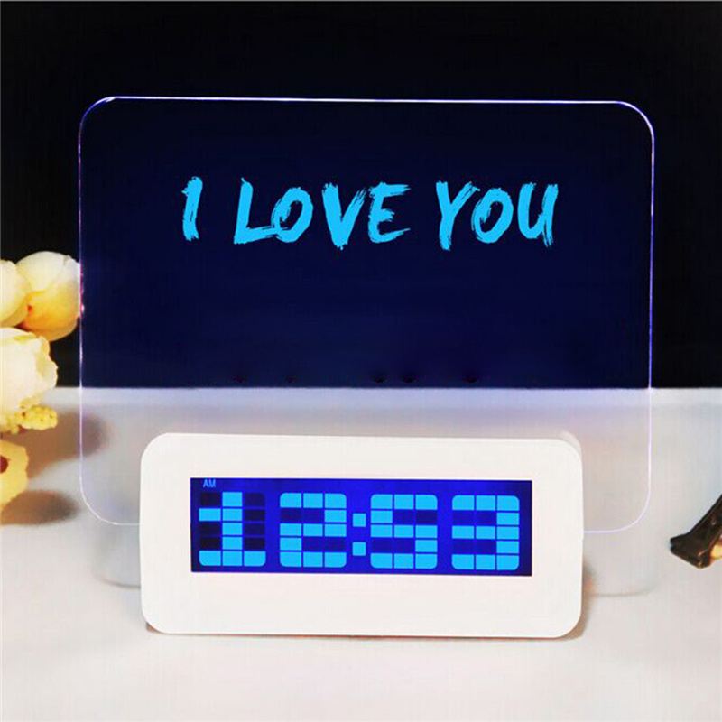 Living Room Bedroom Led Blue Light Electronic Digital Alarm Clock With  Message Board Home Decor Horologe Timekeeper Clocks In Alarm Clocks From  Home ...