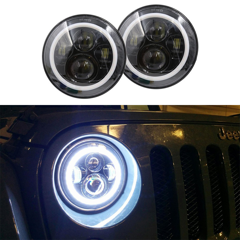 For 97-15 Jeep Wrangler LED Headlight 7INCH 40W LED Projector Daymaker Replace Hi / Lo Beam for JK CJ OffRoad Hummer 7inch 75w motorcycle black hi lo beam projector daymaker led chips headlight for harley