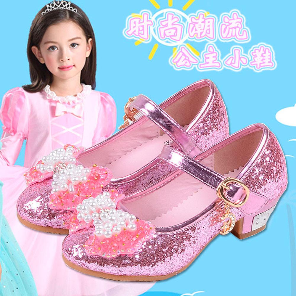 Disney Girls Princess Shoes High Heels Shoes Frozen Princess Elsa Crystal Shoes Brilliant Children Sandals For Student Kids