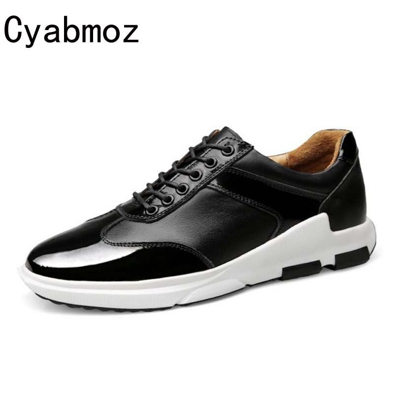 Бренд Cyabmoz случайные мужские из натуральной кожи Высота увеличение Лифт обувь со скрытым каблуком новая мода кружева-up zapatos хомбре 6см