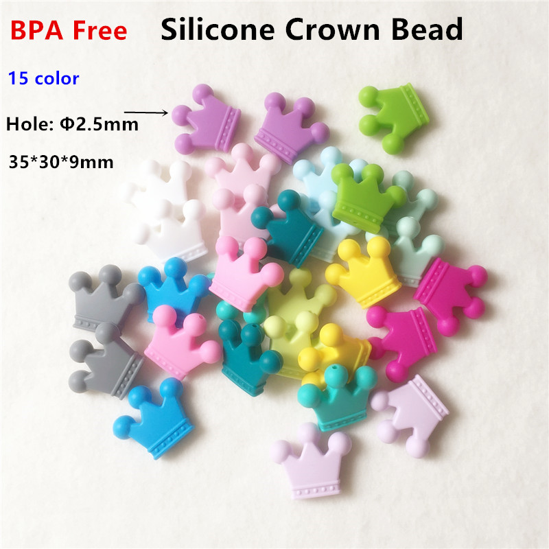 Chenkai 50pcs BPA Free Silicone Crown Teether Beads DIY font b Baby b font Shower Chewing
