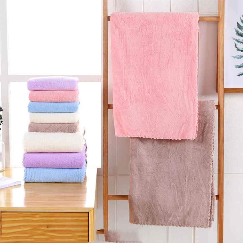 Solid Color Towel Set Microfiber Fabric Face Hair Bath Hand Coral Fleece Towel Kitchen Quality Covered Blanket Serviette De Bain