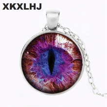 XKXLHJ Fashion Red Purple Cat Eye Necklace 3 Color Chain Dragon Eye Art Glass Round D Pendant Necklace Charm Jewelry Bijoux equte spew23c3 lovely kitty cat s eye pendant necklace golden white 30