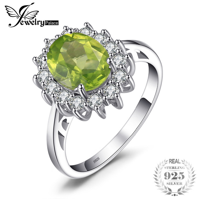 JewelryPalace 2.74ct Princess Diana William Kate Middleton's Natural Green Perid