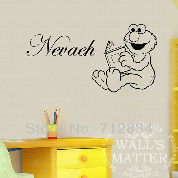 B.Z.D] Free Shipping DIY Elmo Reading Personalized Name Art Decals ...