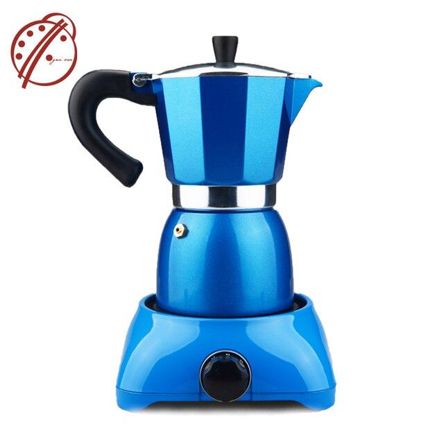 Electric Coffee Maker Filter Pot Moka Tools Blue Heating Mocha Italian